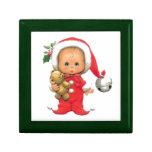 Christmas Baby Elf And Teddy Jewelry Box