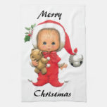 Christmas Baby Elf And Teddy Kitchen Towels