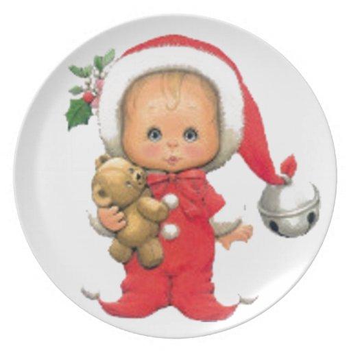 Christmas Baby Elf And Teddy Plates