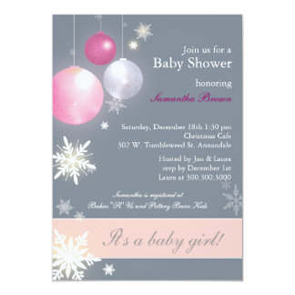 Christmas Baby Girl Baby Shower Card