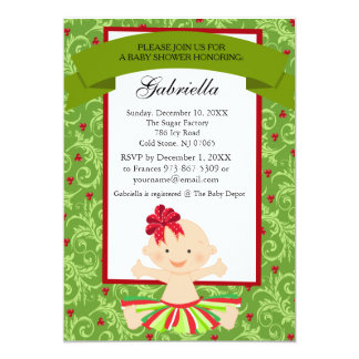 Christmas Baby in Tutu Baby Girl Shower Invitation