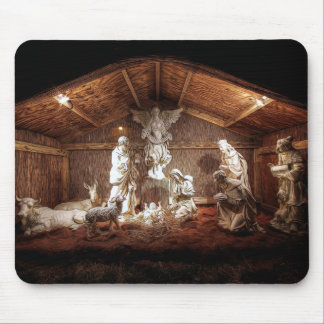 Christmas Baby Jesus Nativity Manger Scene Mouse Pad