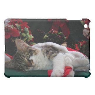Christmas Baby Kitty Cat, Large Eyed Kitten Alone iPad Mini Covers