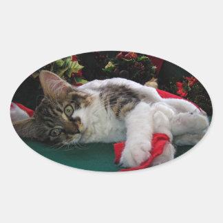 Christmas Baby Kitty Cat, Large Eyed Kitten Alone Oval Sticker