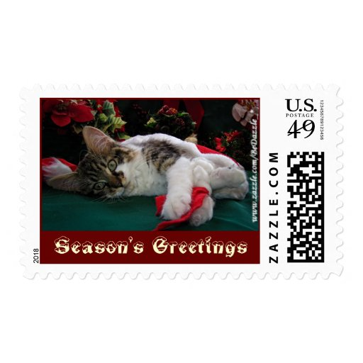 Christmas Baby Kitty Cat, Large Eyed Kitten Alone Stamps