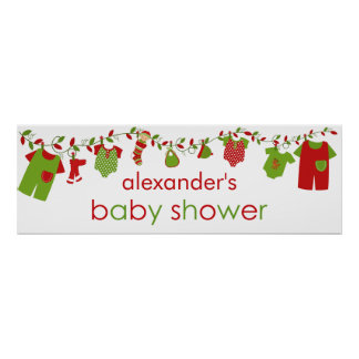 Christmas Baby Laundry Boy Baby Shower Banner Poster