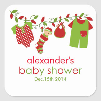 Christmas Baby Laundry Boy Baby Shower Sticker