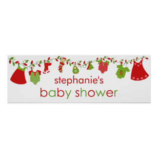 Christmas Baby Laundry Girl Baby Shower Banner Poster
