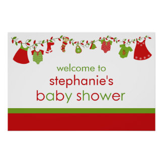 Christmas Baby Laundry Girl Baby Shower Poster