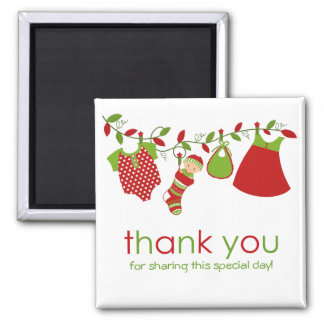 Christmas Baby Laundry Girl Thank You Magnet
