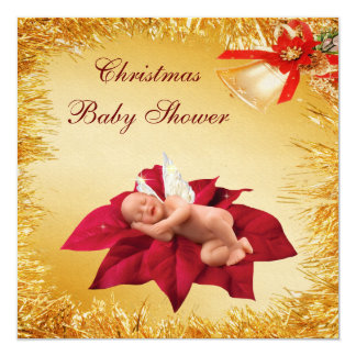 Christmas Baby, Poinsettia & Tinsel Baby Shower Personalized Invites