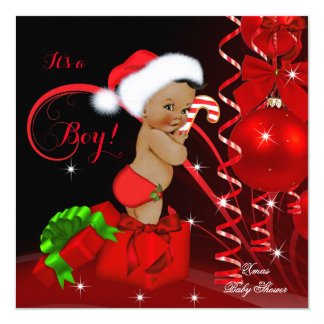 Christmas Baby Shower Boy Red Black Ethnic Card