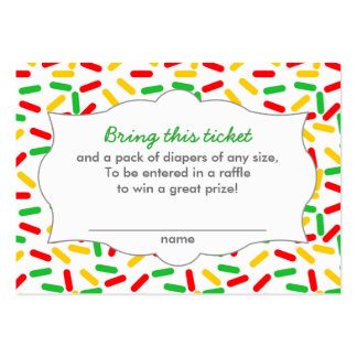 Christmas Baby Shower Diaper Raffle Tickets Large Business Card