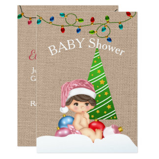 Christmas Baby Shower Invitation Girl