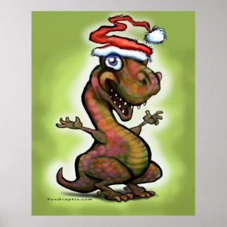 Christmas Baby T-Rex Dinosaur Poster