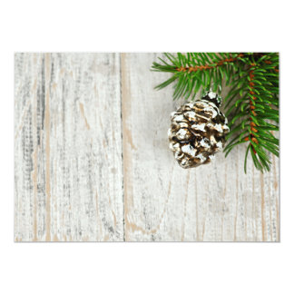 Christmas background with ornaments on branch personalized invitations