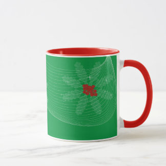 Christmas background with red berries mug