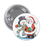 Christmas badge: Santa and Snowman hugging Button