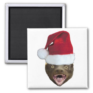 Christmas Badger Don't Care Gifts 2 Inch Square Magnet