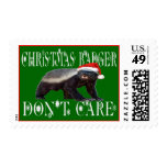 CHRISTMAS BADGER DON'T CARE Postage Stamp