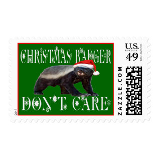 Christmas Badger Don't Care Postage Stamp at Zazzle
