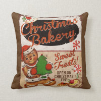 Christmas Bakery Gingerbread Throw Pillow