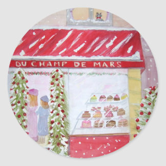Christmas Bakery in Paris Classic Round Sticker