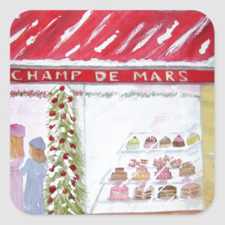 Christmas Bakery in Paris Square Stickers