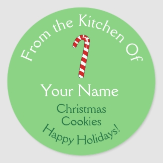 Christmas Baking Stickers Candy Cane Personalized
