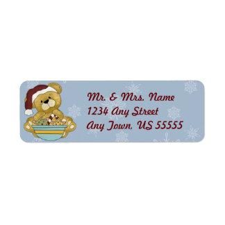 Christmas Baking Teddy Bear Address Labels
