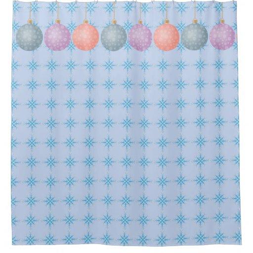 Christmas ball ornament snowflake shower curtain zazzle