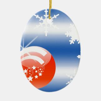 Christmas ball Snowflake blue white red Ornament