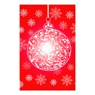 Christmas ball & Snowflakes Background Stationery