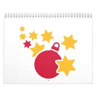 Christmas ball stars wall calendar