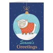 Christmas Ball with Sheep Season's Greetings Card