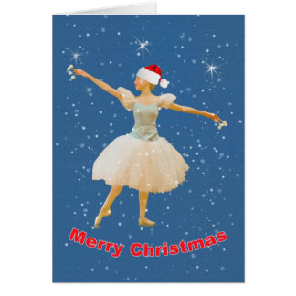 Christmas, Ballerina Dancing in Snow Card