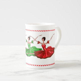 Christmas Ballerinas in Red and Green Tutus Tea Cup
