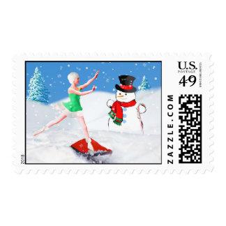 Christmas, Ballet Dancer, Snow Scene Postage Stamp
