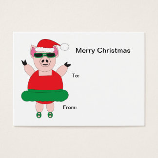 Christmas Ballet Pig Gift Tag Business Card