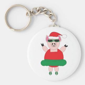 Christmas Ballet Pig Keychain