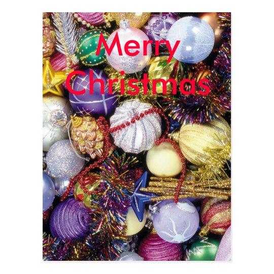 Christmas Balls and Ribbon Postcard