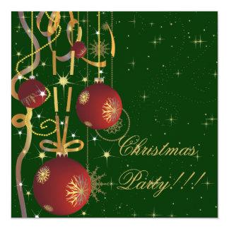 Christmas Balls And Ribbons green Party Invitation