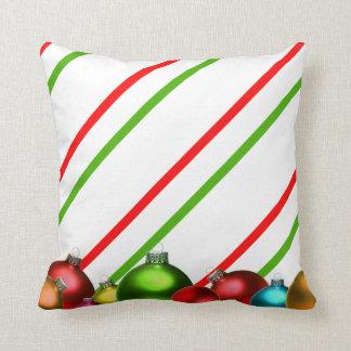 Christmas Balls and Stripes Throw Pillow