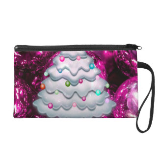 Christmas Balls and Tree,bordeaux Wristlet Clutches