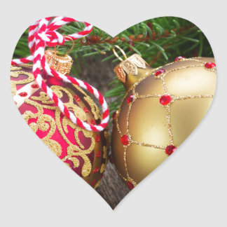 Christmas balLs decorations Heart Sticker