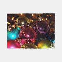 Christmas balls fleece blanket