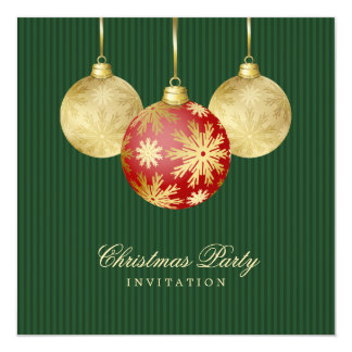 Christmas Balls Red Gold party invitation