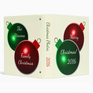 Christmas Balls Red & Green Family Name Photo Binder