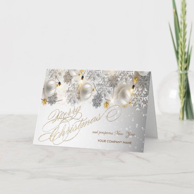 Christmas Balls,Snowflakes,Lights Company Greeting Holiday Card