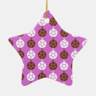 Christmas balls, stars pattern pink, white, brown christmas tree ornaments